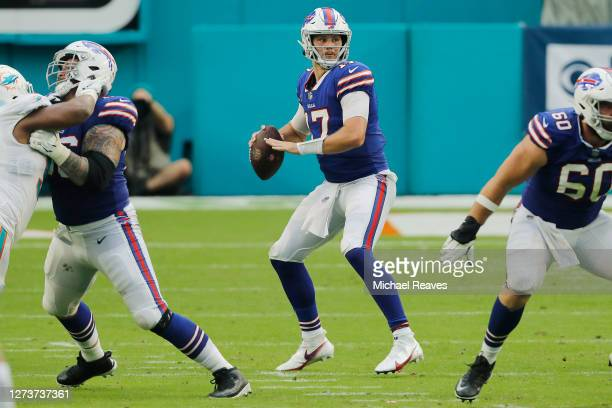 Josh Allen of the Buffalo Bills looks to pass against the Miami Dolphins during the first half at Hard Rock Stadium on September 20, 2020 in Miami...