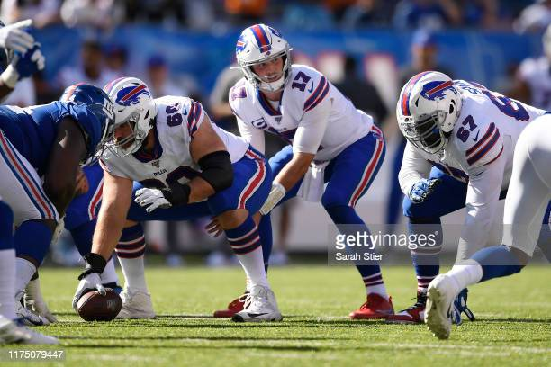 Josh Allen of the Buffalo Bills prepares for the snap during the fourth quarter of the game against the New York Giants at MetLife Stadium on...