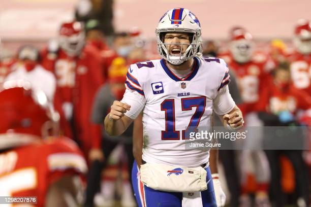 Josh Allen of the Buffalo Bills reacts in the first half against the Kansas City Chiefs during the AFC Championship game at Arrowhead Stadium on...