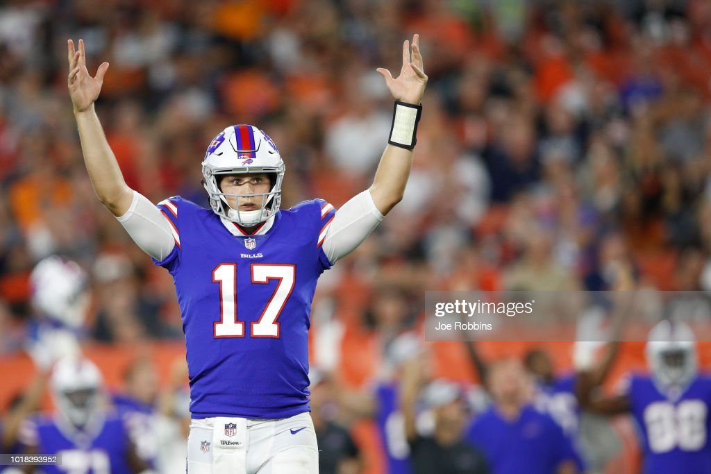 Josh Allen #17 of the Buffalo Bills reacts in the second quarter of a preseason game against the Cleveland Browns at FirstEnergy Stadium on August 17, 2018 in Cleveland, Ohio.