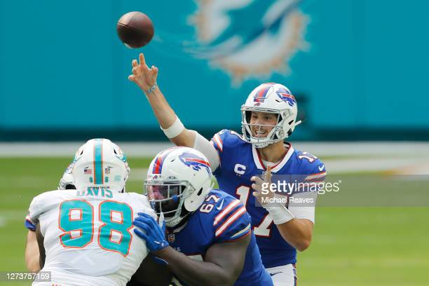Josh Allen of the Buffalo Bills throws a pass against the Miami Dolphins during the second half at Hard Rock Stadium on September 20, 2020 in Miami...