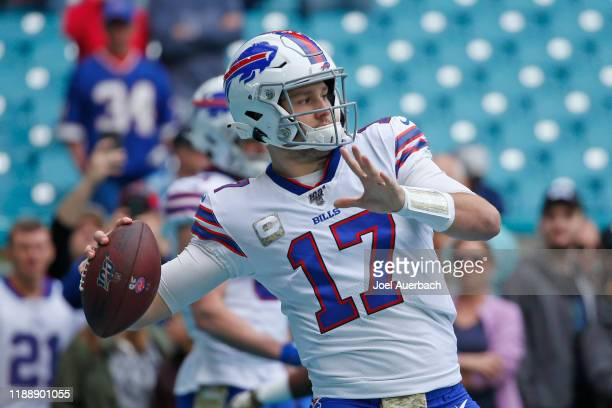Josh Allen of the Buffalo Bills throws the ball prior to the game against the Miami Dolphins on November 17, 2019 at Hard Rock Stadium in Miami...