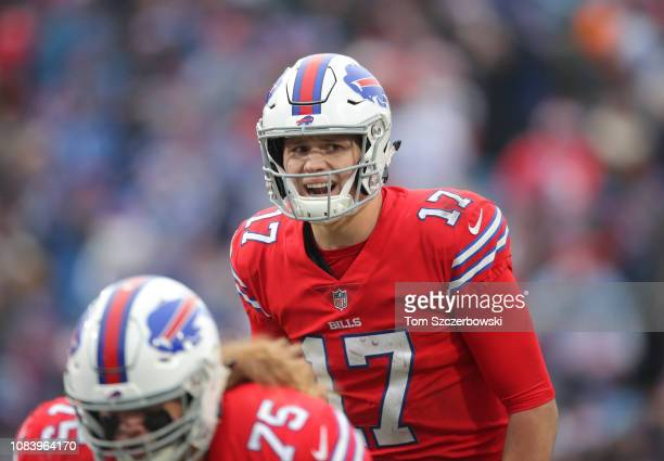 Josh Allen of the Buffalo Bills yells out instructions as he audibles in the third quarter during NFL game action against the Detroit Lions at New...