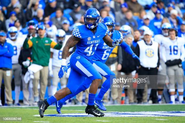 Josh Allen of the Kentucky Wildcats drops back in coverage against the Middle Tennessee Blue Raiders at Commonwealth Stadium on November 17 2018 in...