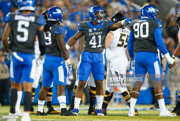 Josh Allen of the Kentucky Wildcats motions at the bench during the game against the Missouri Tigers at Commonwealth Stadium on October 7 2017 in...