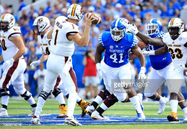 Josh Allen of the Kentucky Wildcats plays against the Central Michigan Chippewas at Commonwealth Stadium on September 1 2018 in Lexington Kentucky