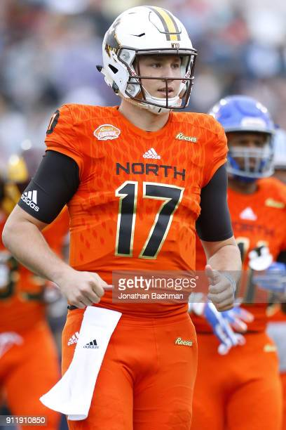 Josh Allen of the North team reacts during the Reese's Senior Bowl at LaddPeebles Stadium on January 27 2018 in Mobile Alabama