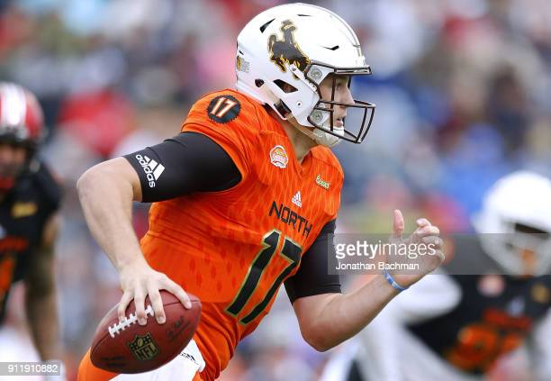 Josh Allen of the North team runs with the ball during the Reese's Senior Bowl at LaddPeebles Stadium on January 27 2018 in Mobile Alabama