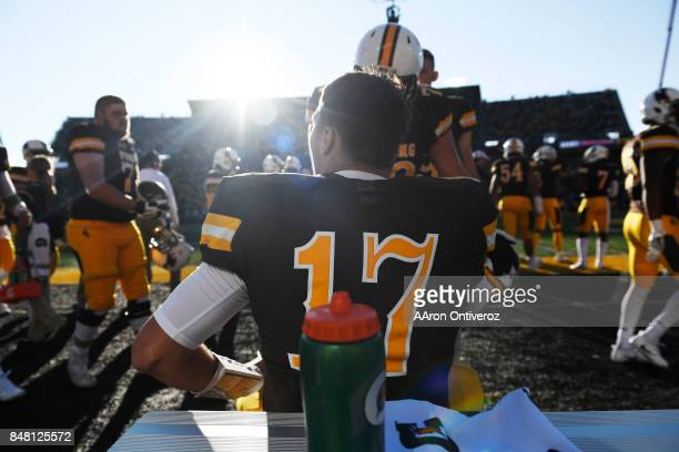 Josh Allen of the Wyoming Cowboys sits on the bench as the defense takes on the Oregon Ducks during the first half on Saturday September 16 2017 The...