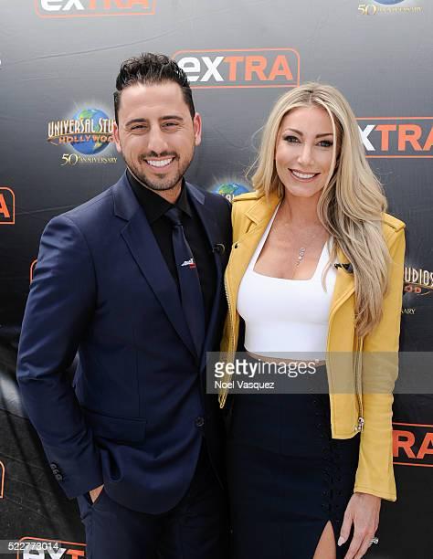 Josh Altman and Heather Bilyeau visit 'Extra' at Universal Studios Hollywood on April 20 2016 in Universal City California