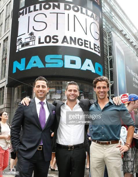 Josh Altman Josh Flagg and Madison Hildebrand ring the closing bell at the NASDAQ MarketSite on August 8 2013 in New York City