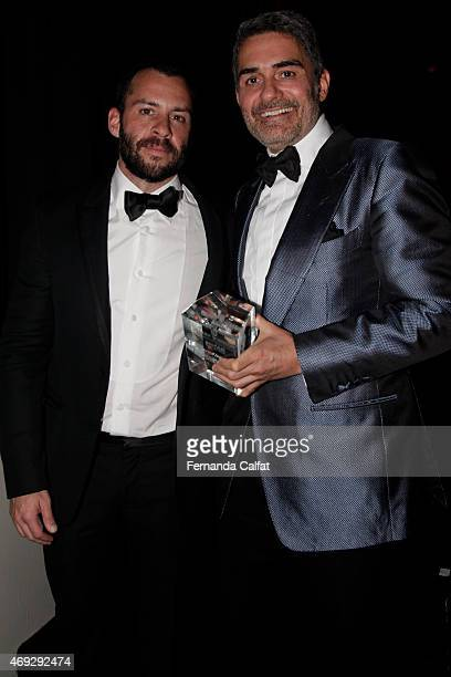 Josh and Felipe Diniz attend the 5th Annual amfAR Inspiration Gala at the home of Dinho Diniz on April 10 2015 in Sao Paulo Brazil