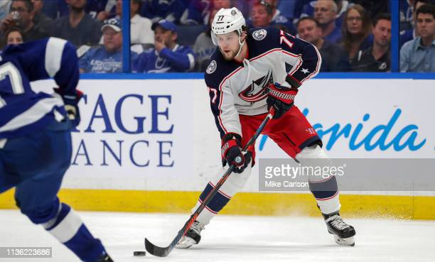 Josh Anderson of the Columbus Blue Jackets brings the puck up to score against the Tampa Bay Lightning during the third period in Game One of the...