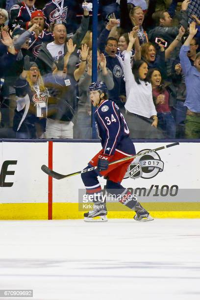 Josh Anderson of the Columbus Blue Jackets celebrates after scoring a goal in Game Four of the Eastern Conference First Round during the 2017 NHL...