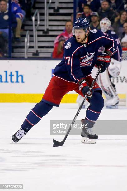 Josh Anderson of the Columbus Blue Jackets controls the puck during the game against the New York Rangers on November 10 2018 at Nationwide Arena in...