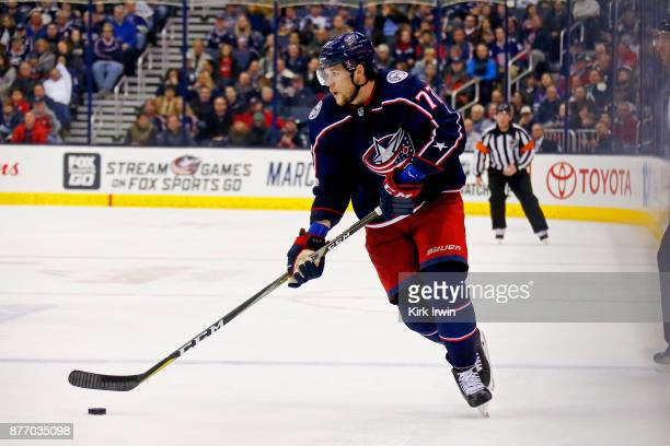Josh Anderson of the Columbus Blue Jackets controls the puck during the game against the New York Rangers on November 17 2017 at Nationwide Arena in...