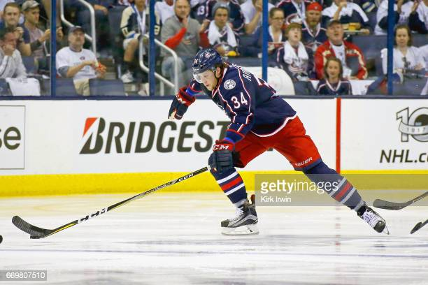 Josh Anderson of the Columbus Blue Jackets controls the puck in Game Three of the Eastern Conference First Round during the 2017 NHL Stanley Cup...