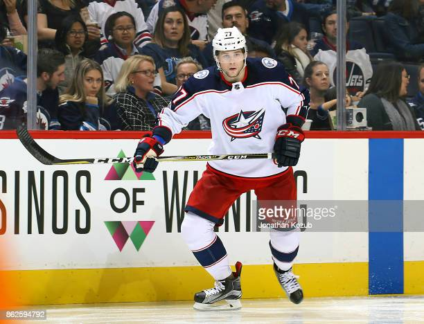 Josh Anderson of the Columbus Blue Jackets follows the play down the ice during third period action against the Winnipeg Jets at the Bell MTS Place...