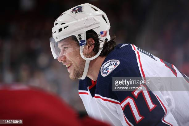Josh Anderson of the Columbus Blue Jackets in action during the third period of the NHL game against the Arizona Coyotes at Gila River Arena on...