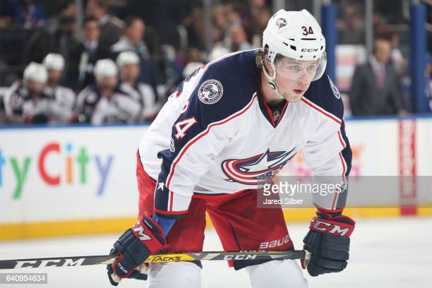 Josh Anderson of the Columbus Blue Jackets looks on during a faceoff against the New York Rangers at Madison Square Garden on January 31 2017 in New...