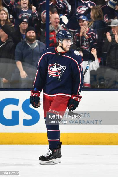 Josh Anderson of the Columbus Blue Jackets reacts after scoring a goal during the third period of a game against the Anaheim Ducks on December 1 2017...