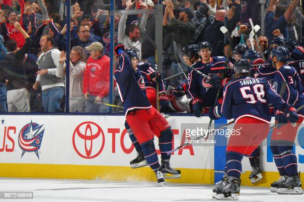 Josh Anderson of the Columbus Blue Jackets reacts after scoring the gamewinning overtime goal in a game against the Winnipeg Jets on October 27 2017...