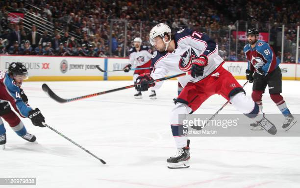 Josh Anderson of the Columbus Blue Jackets shoots against the Colorado Avalanche at the Pepsi Center on November 9 2019 in Denver Colorado The...