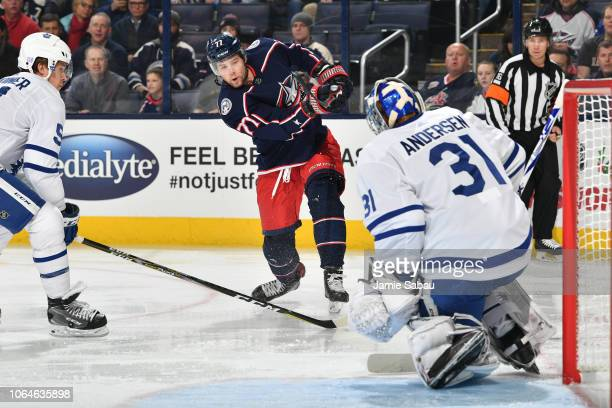 Josh Anderson of the Columbus Blue Jackets shoots the puck on goaltender Frederik Andersen of the Toronto Maple Leafs during the first period of a...