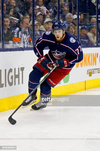 Josh Anderson of the Columbus Blue Jackets skates after the puck in Game Three of the Eastern Conference First Round during the 2018 NHL Stanley Cup...
