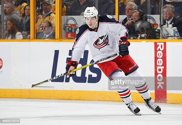 Josh Anderson of the Columbus Blue Jackets skates against the Nashville Predators during an NHL game at Bridgestone Arena on January 26 2017 in...