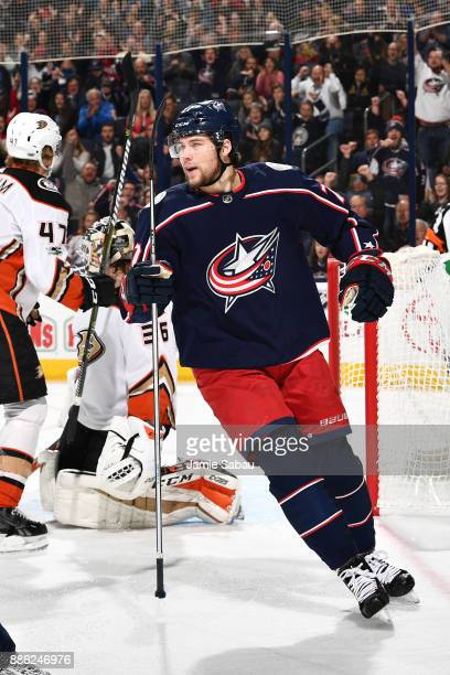 Josh Anderson of the Columbus Blue Jackets skates against the Anaheim Ducks on December 1 2017 at Nationwide Arena in Columbus Ohio