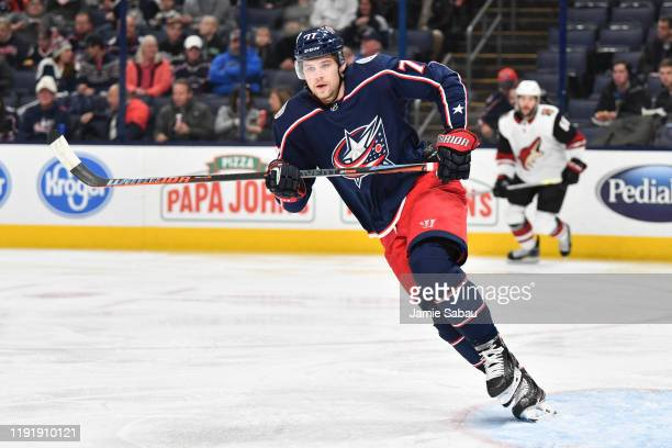 Josh Anderson of the Columbus Blue Jackets skates against the Arizona Coyotes on December 3 2019 at Nationwide Arena in Columbus Ohio