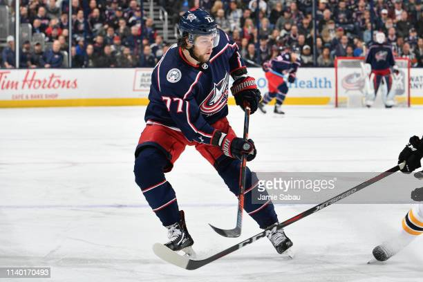 Josh Anderson of the Columbus Blue Jackets skates against the Boston Bruins on April 2 2019 at Nationwide Arena in Columbus Ohio