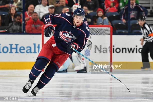 Josh Anderson of the Columbus Blue Jackets skates against the Chicago Blackhawks on October 20 2018 at Nationwide Arena in Columbus Ohio Chicago...