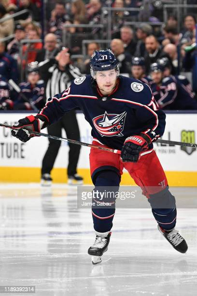 Josh Anderson of the Columbus Blue Jackets skates against the Detroit Red Wings on November 21 2019 at Nationwide Arena in Columbus Ohio