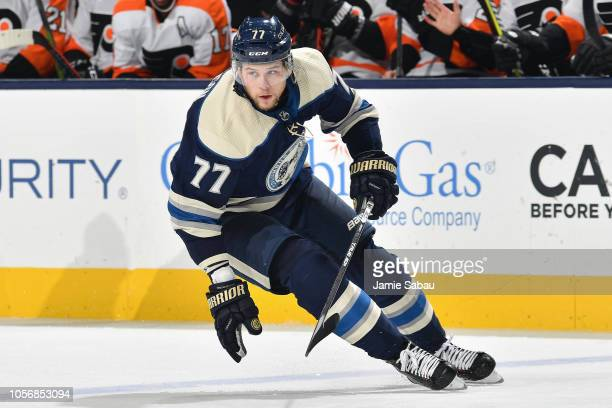 Josh Anderson of the Columbus Blue Jackets skates against the Philadelphia Flyers on October 18 2018 at Nationwide Arena in Columbus Ohio