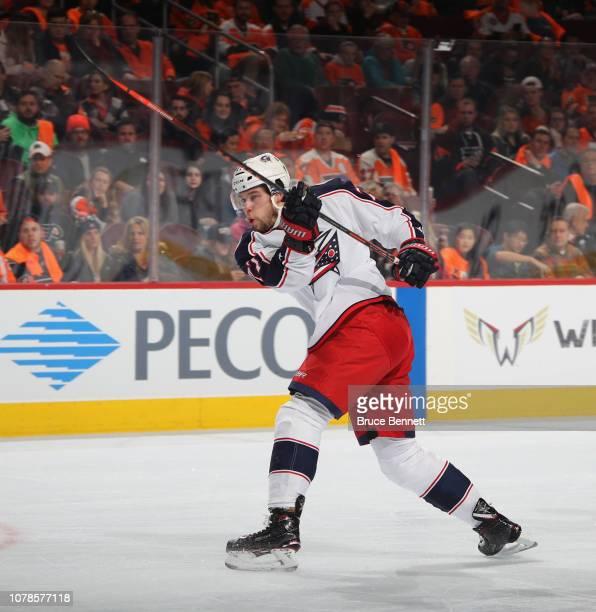 Josh Anderson of the Columbus Blue Jackets skates against the Philadelphia Flyers at the Wells Fargo Center on December 06 2018 in Philadelphia...