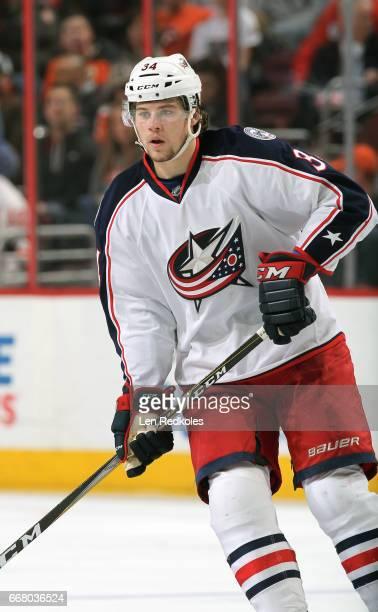 Josh Anderson of the Columbus Blue Jackets skates against the Philadelphia Flyers on April 8 2017 at the Wells Fargo Center in Philadelphia...