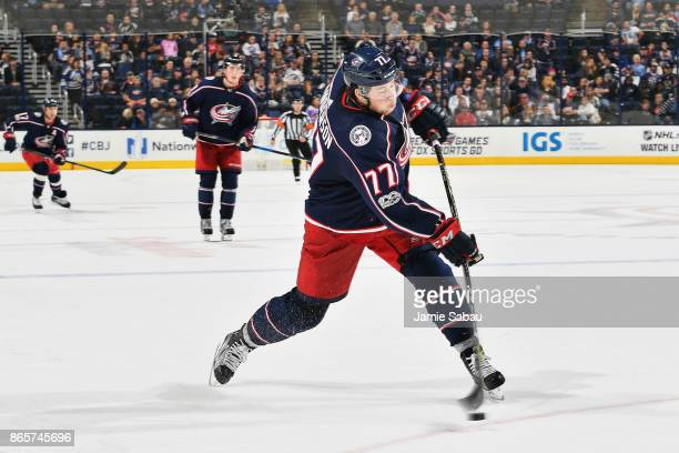Josh Anderson of the Columbus Blue Jackets skates against the Los Angeles Kings on October 21 2017 at Nationwide Arena in Columbus Ohio