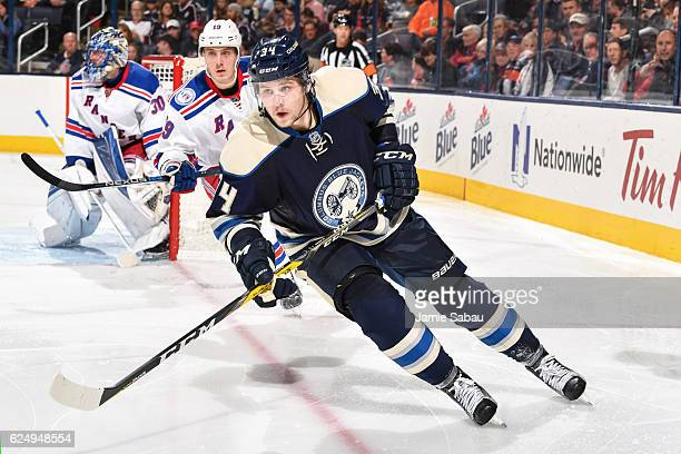 Josh Anderson of the Columbus Blue Jackets skates against the New York Rangers on November 18 2016 at Nationwide Arena in Columbus Ohio Columbus...
