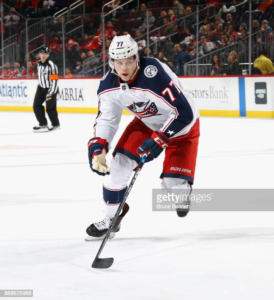 Josh Anderson of the Columbus Blue Jackets skates against the New Jersey Devils at the Prudential Center on December 8 2017 in Newark New Jersey The...