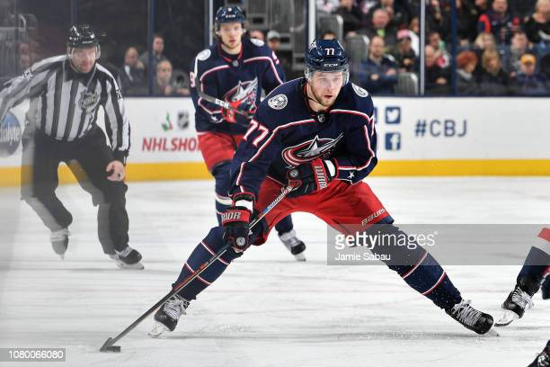 Josh Anderson of the Columbus Blue Jackets skates against the Washington Capitals on December 8 2018 at Nationwide Arena in Columbus Ohio