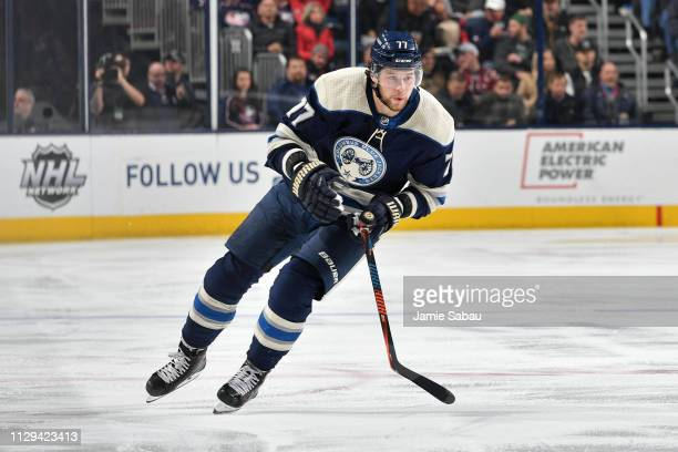 Josh Anderson of the Columbus Blue Jackets skates against the Washington Capitals on February 12 2019 at Nationwide Arena in Columbus Ohio