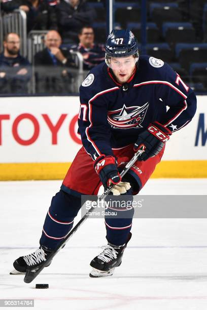 Josh Anderson of the Columbus Blue Jackets skates against the Vancouver Canucks on January 12 2018 at Nationwide Arena in Columbus Ohio