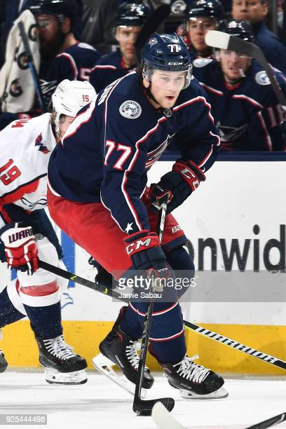 Josh Anderson of the Columbus Blue Jackets skates against the Washington Capitals on February 26 2018 at Nationwide Arena in Columbus Ohio