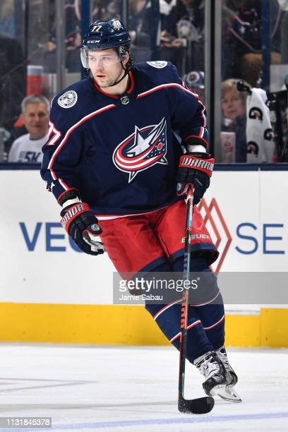 Josh Anderson of the Columbus Blue Jackets skates against the San Jose Sharks on February 23 2019 at Nationwide Arena in Columbus Ohio
