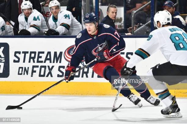 Josh Anderson of the Columbus Blue Jackets skates against the San Jose Sharks on February 2 2018 at Nationwide Arena in Columbus Ohio