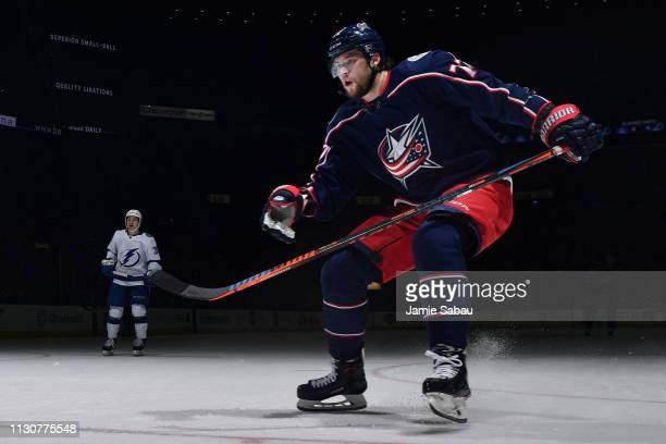 Josh Anderson of the Columbus Blue Jackets skates against the Tampa Bay Lightning on February 18 2019 at Nationwide Arena in Columbus Ohio