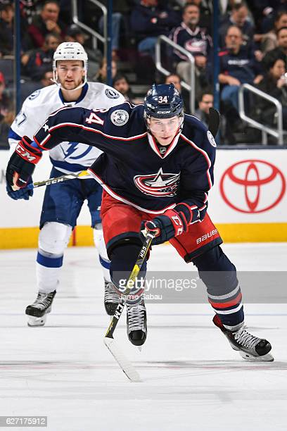 Josh Anderson of the Columbus Blue Jackets skates against the Tampa Bay Lightning on November 29 2016 at Nationwide Arena in Columbus Ohio