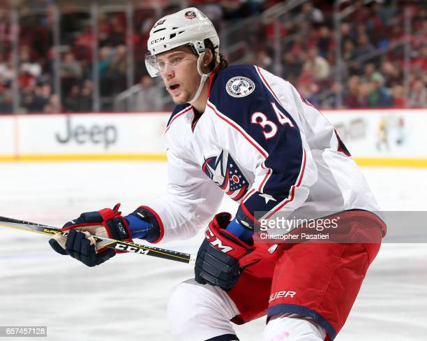 Josh Anderson of the Columbus Blue Jackets skates during the first period against the New Jersey Devils on March 19 2017 at the Prudential Center in...